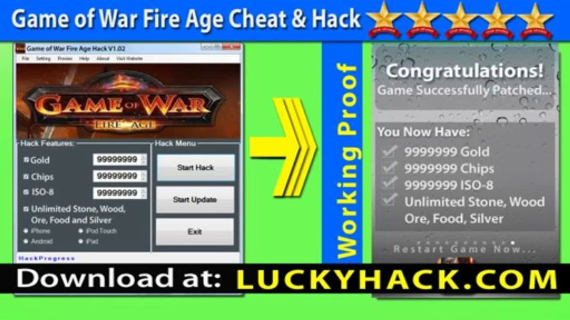 Game of War Fire Age Cheat for unlimited Chips and Gold iOs - V1.02 Game of War Telecharger