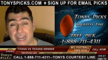 Houston Texans vs. Tennessee Titans Pick Prediction NFL Pro Football Odds Preview 9-15-2013