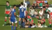 """Rugby : a player hit and bite """"Nuts"""". Crazy!"""