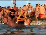 Naga Sadhus Bathe At The Ardh Kumbh Mela in 2007