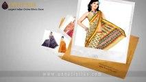 Online shop for Printed sarees, buy block printed cotton silk saree
