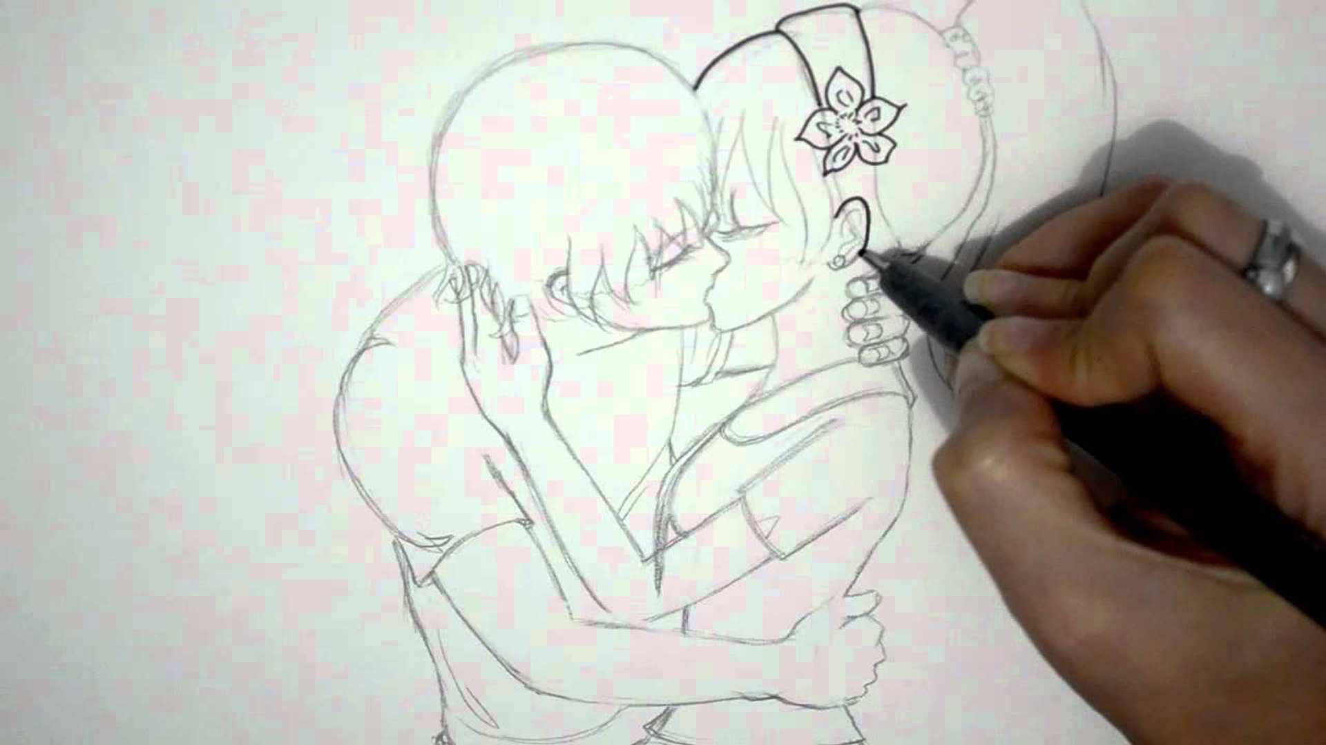 Como Dibujar Una Pareja Anime Besandose Dibujo De Amor