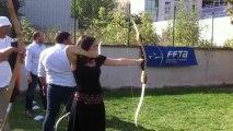 Première flèches, lors des portes ouvertes / initiation au tir à l'arc US-GAZELEC Paris/Plaine-Saint-Denis (même (un peu) enceinte, ce sport est accessible!)