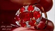 AAB05 - OPAL ORION - Bijou Bague Or 18 K avec Opales de Feu du Mexique & Diamants
