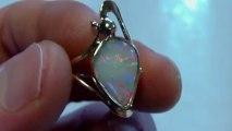 AB35 - Bijou OPAL ORION - Bague or massif 18 K opale blanche australie ring