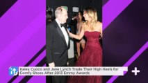 Kaley Cuoco And Jane Lynch Trade Their High Heels For Comfy Shoes After 2013 Emmy Awards