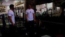 No nonsense muscle building: (Adonis) Prisoner Squats, Dumbell Squats, Press