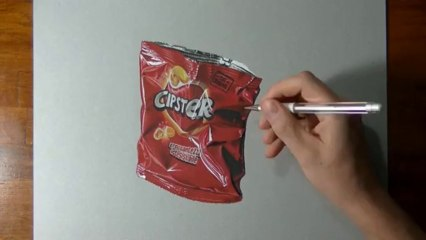 How I draw an empty potato chips bag