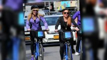 Lindsay and Dina Lohan Take a Bicycle Ride Through New York City