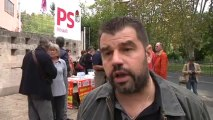 Réforme des retraites : action de l'intersyndicale CGT, FSU et Solidaires devant le siège du PS