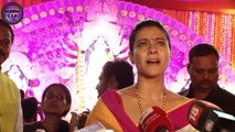 Kajol celebrates Durga Puja with kids Nysa & Yug