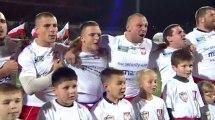 """""""Mazurek Dąbrowskiego"""" w wykonaniu polskich rugbystów. Polska - Czechy. 12.10.2013"""