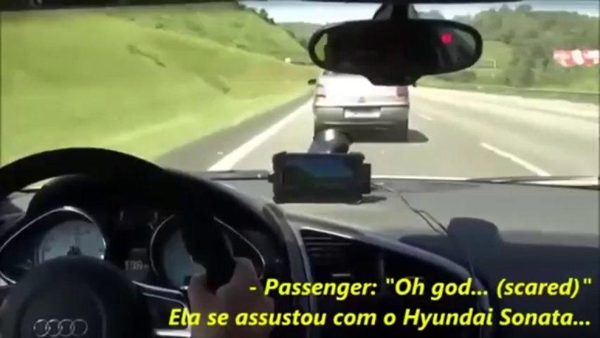 Audi R8 V10 PAU nas motos - Suzuki 1000cc e Kawasaki Ninja 6