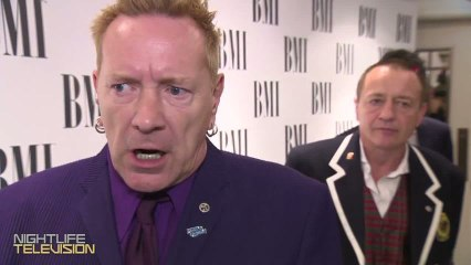 Johnny Rotten gets honored & clowns Miley Cyrus at the BMI London Awards