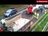 RN12. Un camion heurte un pont, gros bouchon à Saint-Servais (29)