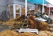 Les dégâts après l'action des producteurs de lait
