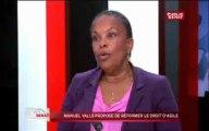 24h Sénat - Christiane Taubira à propos des menaces d'expulsions