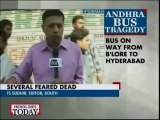 Accident: Andhra Volvo bus catches fire on Hyd-Bangalore national highway, 44 dead