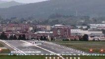 Scary Plane Landing in Bilbao,LEBB. Spain; High winds rock plane as it lands