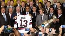 Obama jokes about shutdown, Rahm Emanuel while hosting Chicago Blackhawks