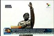 Evo Morales inaugura estatua del comandante Hugo Chávez