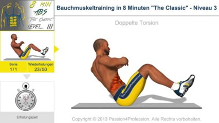 """Bauchmuskeltraining in 8 Minuten """"The Classic"""" - Niveau 3"""