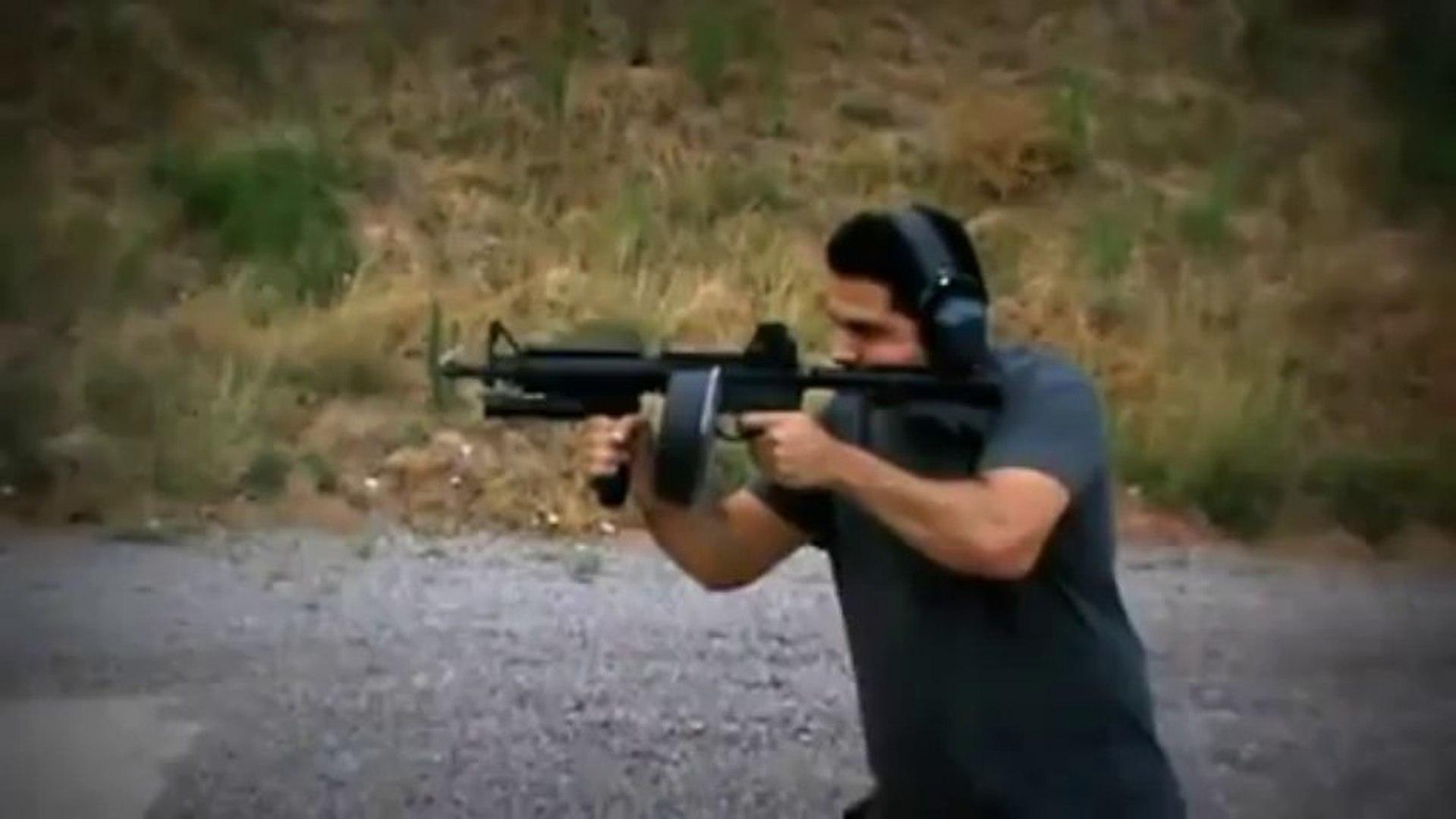 M4 AR15 DRUM MAG DUMP