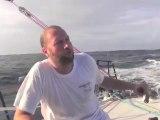 VOILE - Le comédien participe à la transat Jacques Vabre avec Tanguy de Lamotte. Il raconte la vie à bord...
