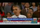 President Obama Heckled Over Immigration, Rebukes Protester San Francisco Speech and obama chats through bum hole !!