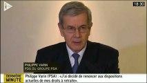 PSA : Philippe Varin renonce à sa retraite-chapeau