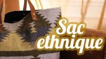 Une vieille veste recyclée en sac ethnique