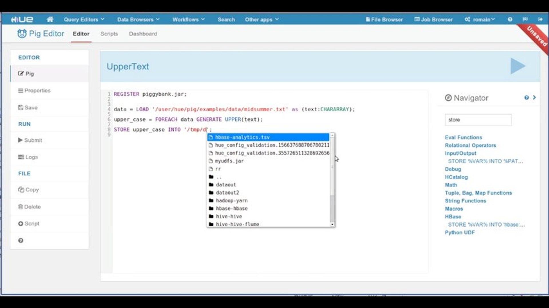 Hadoop Tutorial - The new Pig Editor Navigator in Hue