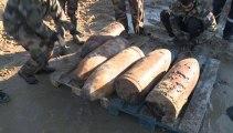 Déminage de cinq pieux Rommel et d'un obus à Sangatte (Pas-de-Calais)