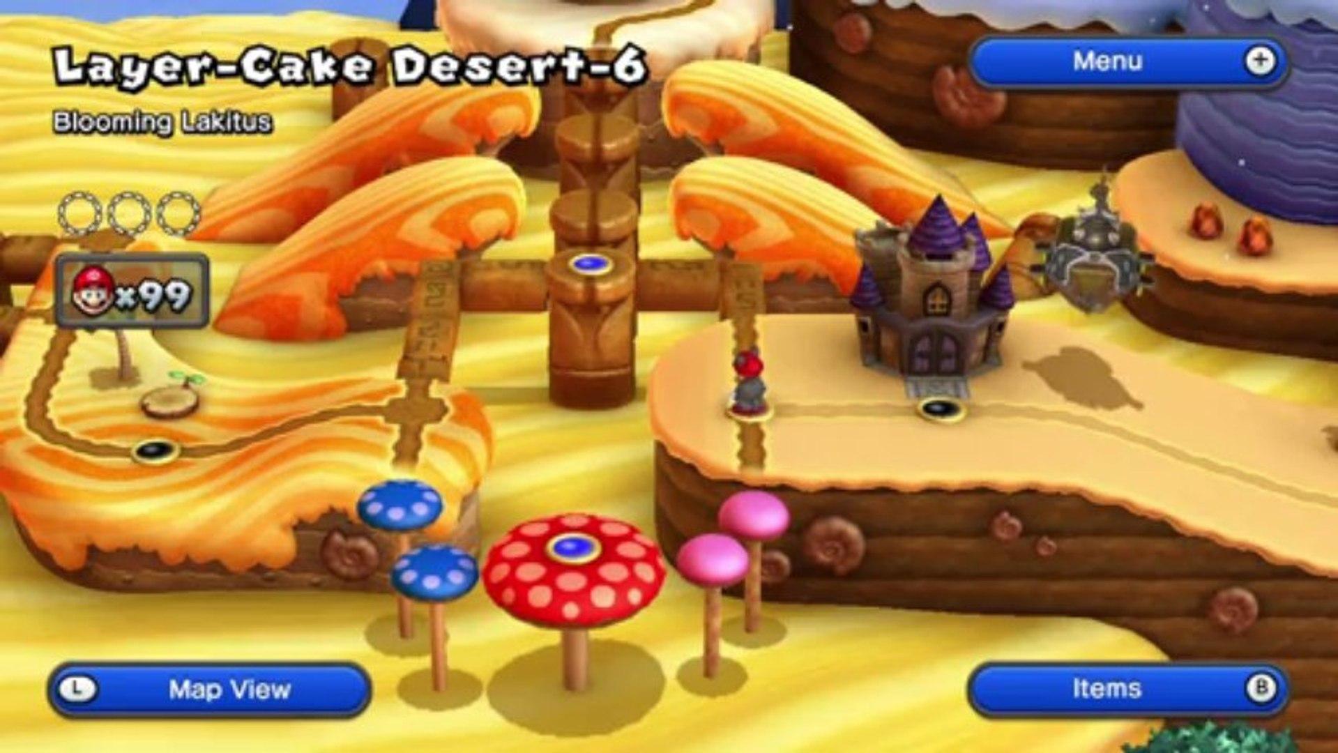 New Super Mario Bros U Walkthrough 13 Layer Cake Desert 5 All Star Coins Hd 1080p Wii U Video Dailymotion