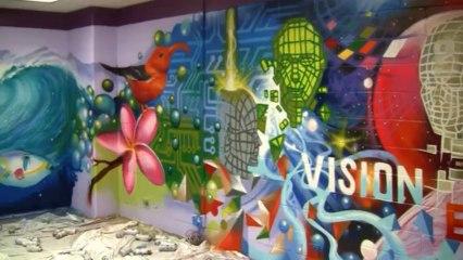 Deisgn Thinking mural by Aerosol Artist Caleb Aero