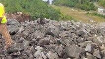 Explosion de roche en slow motion