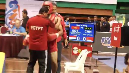 Bian Qingge vs Amin Hisham Ahmed Abdelhamid Finale sanda -90kg - 12e championnat du monde de Wushu