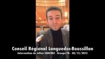 Conseil Régional Languedoc-Roussillon : Intervention de Julien SANCHEZ (FN)