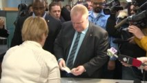 Toronto Mayor Rob Ford registers for upcoming mayoral election.