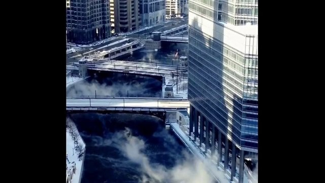 Steam Rises Off River in Chicago