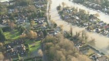 Aerials show extent of severe flooding in south east