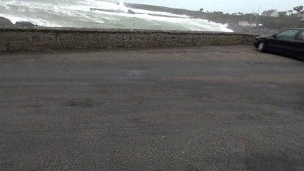 Tempête Ulla : en Bretagne sur le port de Doellan