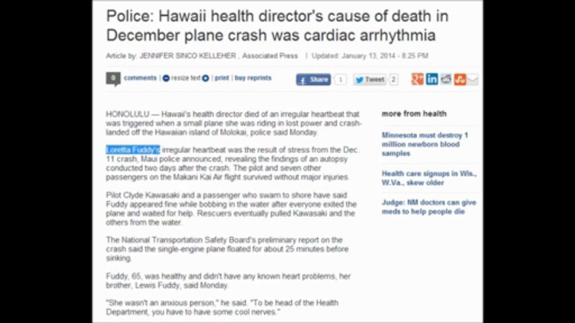 ALERT NEWS Loretta Fuddy who released Obama's Hawaii birth certificate died  after plane crash from stress