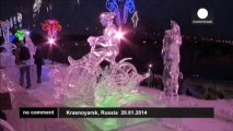 Ice and snow sculpture festival in Siberia attracts teams from five countries