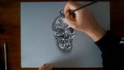 The metal skull - 3D illusion drawing