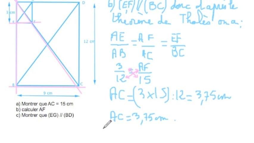 exercice théorème de Thalès et réciproque