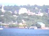 Pink clouds on Lake Champlain ferry ride Burlington Vermont