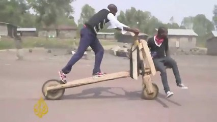Congo - Tshukudu : Wooden bikes in the town of Goma