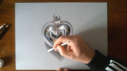 3D illusion drawing - Chrome HEART Pendant - HD time lapse video
