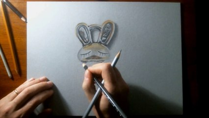 3D illusion drawing LOVE BUNNY Silver Pendant